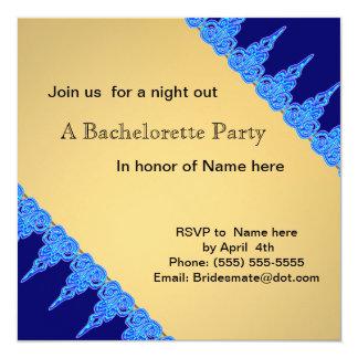 Blue lace gold bachelorete party invitation