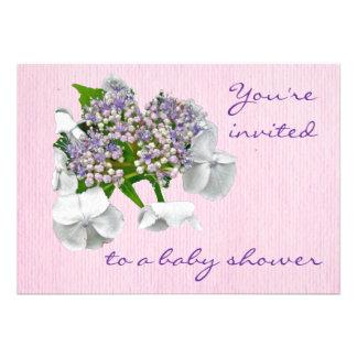 Blue Lace Hydrangea Baby Shower Invitation