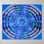 Blue Lace Mandala Poster