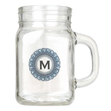 Beach Themed Blue Lace Monogram Mason Jar