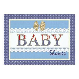 Blue Lace Patriotic Baby Shower Card Invitation