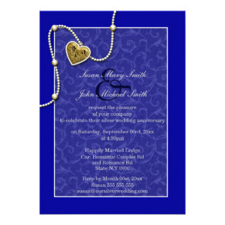 Blue lace pearl wedding anniversary cards