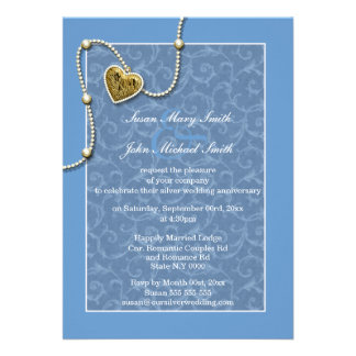 Blue lace pearl wedding anniversary announcements