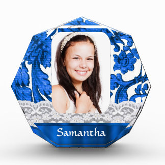 Blue lace personalized photo template award