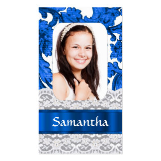 Blue lace personalized photo template Double-Sided standard business cards (Pack of 100)