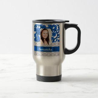 Blue lace personalized photo template travel mug