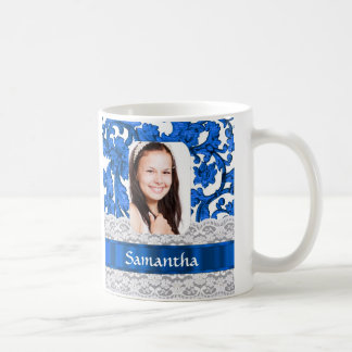 Blue lace photo template coffee mug