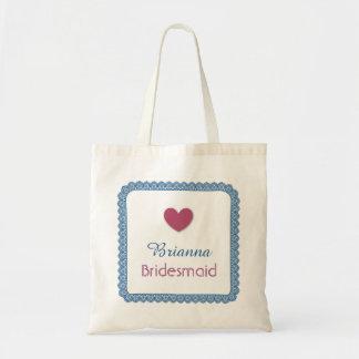 Blue Lace Pink Heart Bridesmaid Wedding Bag V04 Budget Tote Bag