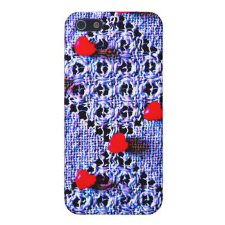 Blue lace & red hearts speck case