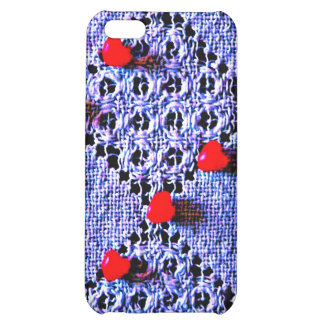 Blue lace & red hearts speck case cover for iPhone 5C
