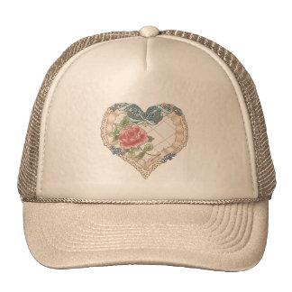 Blue Lace Ribbon Heart Trucker Hat