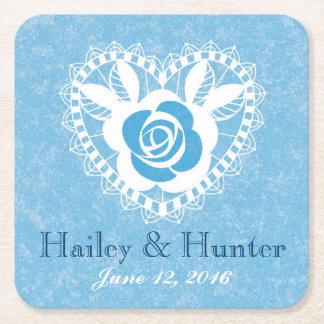 Blue Lace Rose Heart Square Paper Coaster