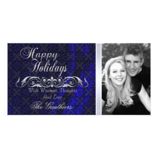Blue Lace Silk Silver Scroll Holiday Photo Card
