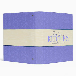 Blue Lace with Ivory Ribbon Recipe Binder