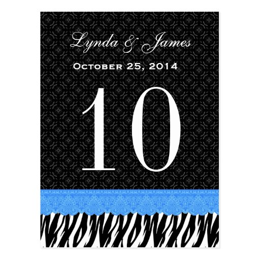 Blue Lace Zebra Custom Name Wedding Table Number Post Cards