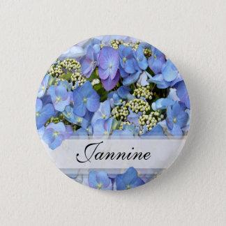 Blue Lacecap Hydrangeas Pinback Button