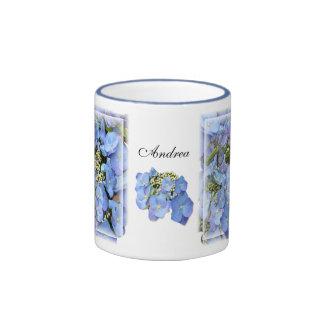 Blue Lacecap Hydrangeas Ringer Coffee Mug