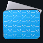 "Blue Lacrosse Sticks Laptop Sleeve<br><div class=""desc"">Laptop sleeve with silhouettes of a crossed lacrosse sticks.  Customize it with a name and/or number for that personal touch. This design is available in different colors and on other products at my store.</div>"