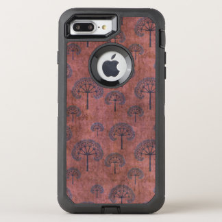 Blue Lacy Trees on Grunge Red OtterBox Defender iPhone 8 Plus/7 Plus Case