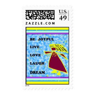 Blue Lady Be Joyful: Live Love Laugh Dream Postage