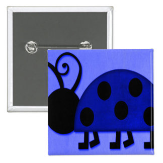 Blue Lady Bug Button
