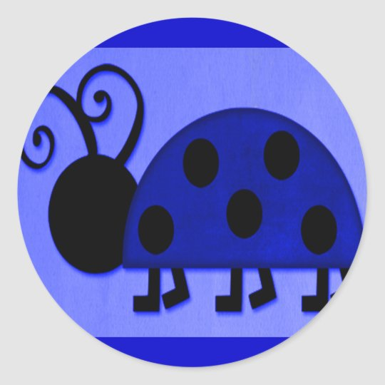 Blue Lady Bug Classic Round Sticker