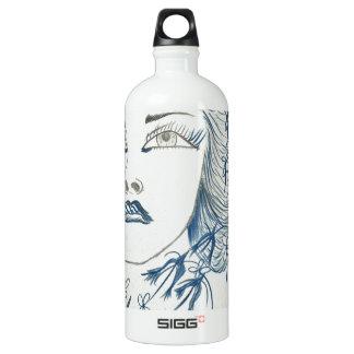 Blue Lady Flower Aluminum Water Bottle