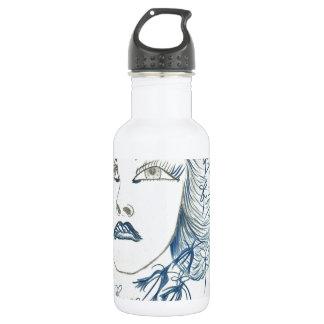 Blue Lady Flower Stainless Steel Water Bottle