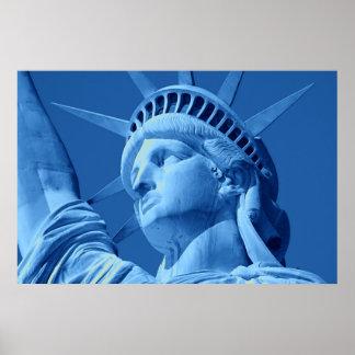 Blue Lady Liberty Close-up Poster