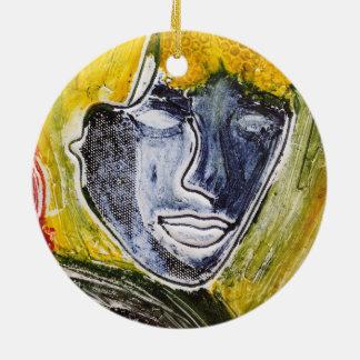 Blue lady round ornament