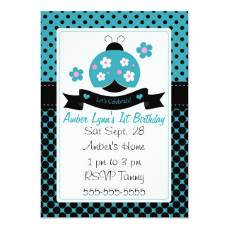 Blue Ladybug With Flowers On Wings 5x7 Paper Invitation Card
