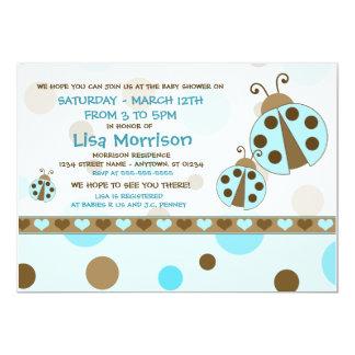 Blue Ladybugs Baby Shower Invitations