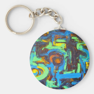 Blue Lagoon-Abstract Art Hand Painted Brushstrokes Basic Round Button Keychain
