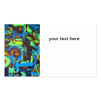 Blue Lagoon-Abstract Art Hand Painted Brushstrokes Double-Sided Standard Business Cards (Pack Of 100)