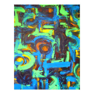 Blue Lagoon-Abstract Art Hand Painted Brushstrokes Flyer