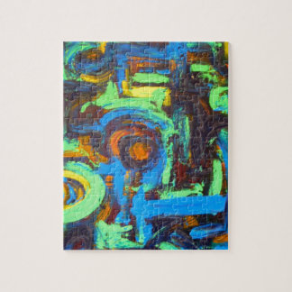 Blue Lagoon-Abstract Art Hand Painted Brushstrokes Jigsaw Puzzle