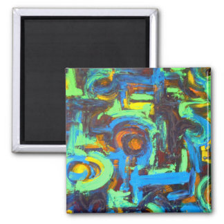 Blue Lagoon-Abstract Art Hand Painted Brushstrokes Magnet