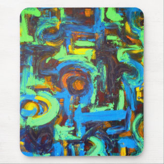 Blue Lagoon-Abstract Art Hand Painted Brushstrokes Mouse Pad