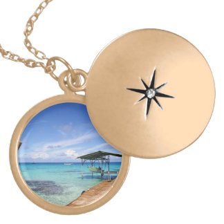Blue Lagoon at the Tuamotus, French Polynesia Locket Necklace