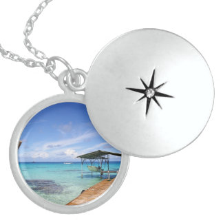 Blue Lagoon at the Tuamotus, French Polynesia Sterling Silver Necklace