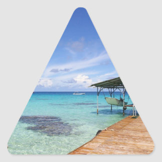 Blue Lagoon at the Tuamotus, French Polynesia Triangle Sticker