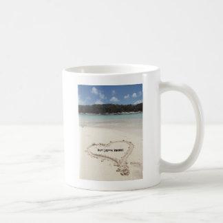 Blue Lagoon, Bahamas- Heart Drawn in the Sand Mugs