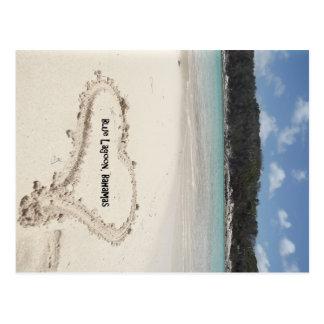 Blue Lagoon, Bahamas- Heart Drawn in the Sand Postcard