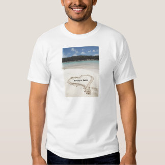 Blue Lagoon, Bahamas- Heart Drawn in the Sand T-shirt
