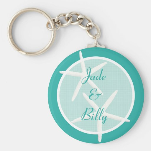 Blue Lagoon Bride and Groom Names Key Ring Basic Round Button Keychain