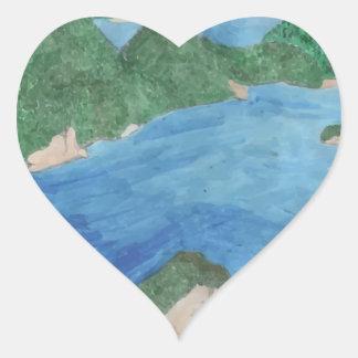 Blue Lagoon Heart Sticker