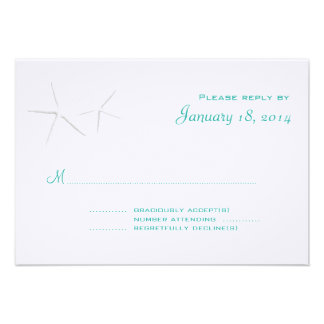 Blue Lagoon Starfish 3x5 Wedding Reply Cards Announcements