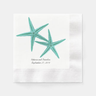Blue Lagoon Starfish Couple Wedding Napkins