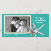 Blue Lagoon Starfish Family Christmas Photo Card