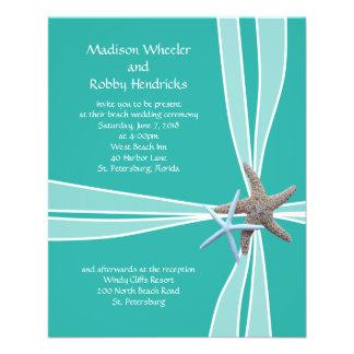 Blue Lagoon Starfish Gift Box Wedding Invitations Flyer